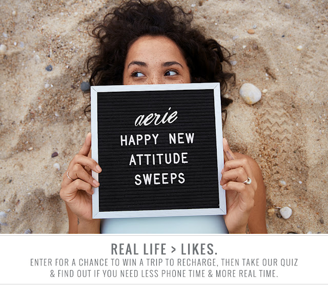 Aerie wants you to enter for your chance to win a trip to Monterey, California to recharge, then take their fun quiz to find out if you need less phone time and more real time!