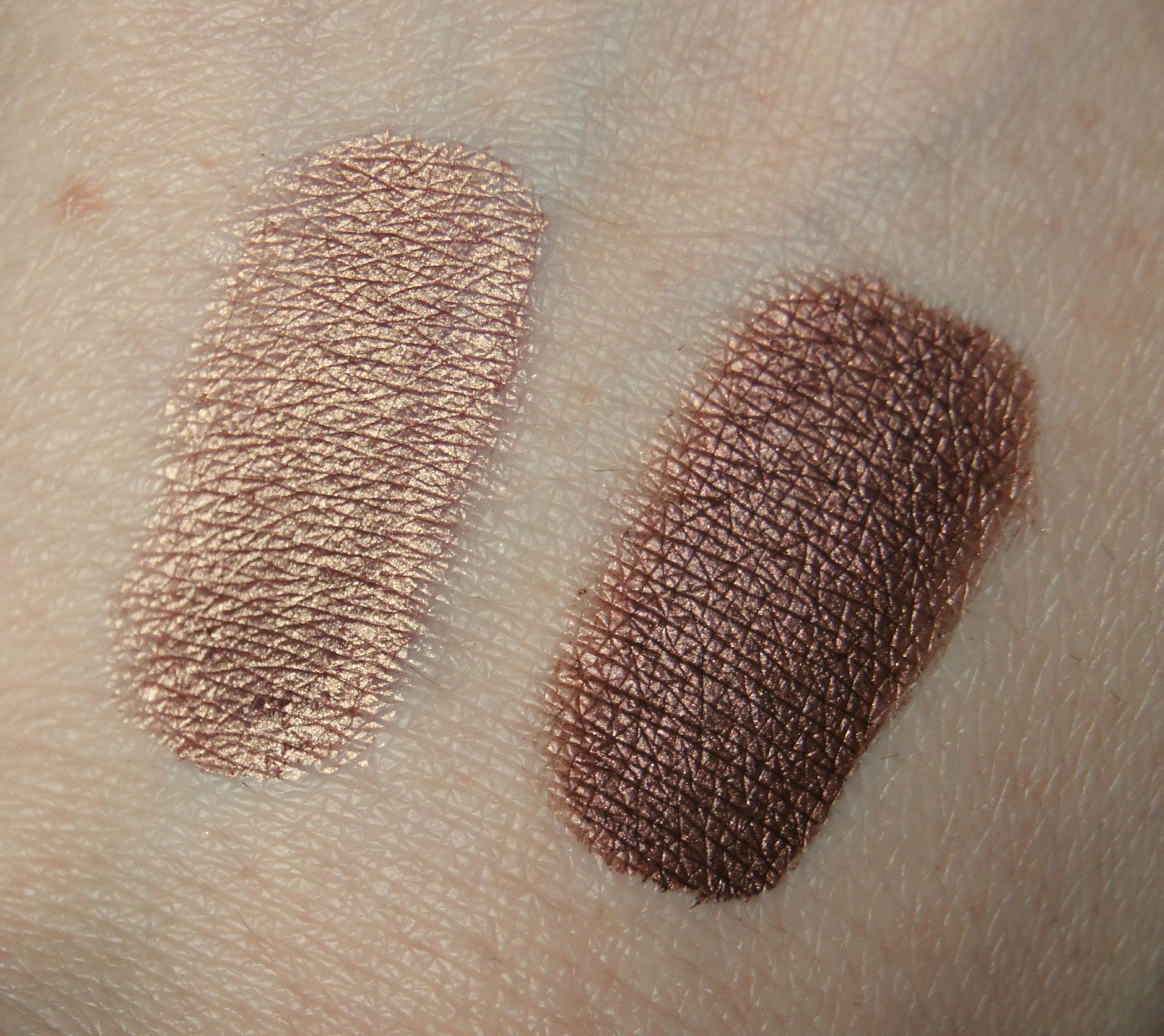 laura mercier metallic creme eye colour rose gold burnished copper swatches