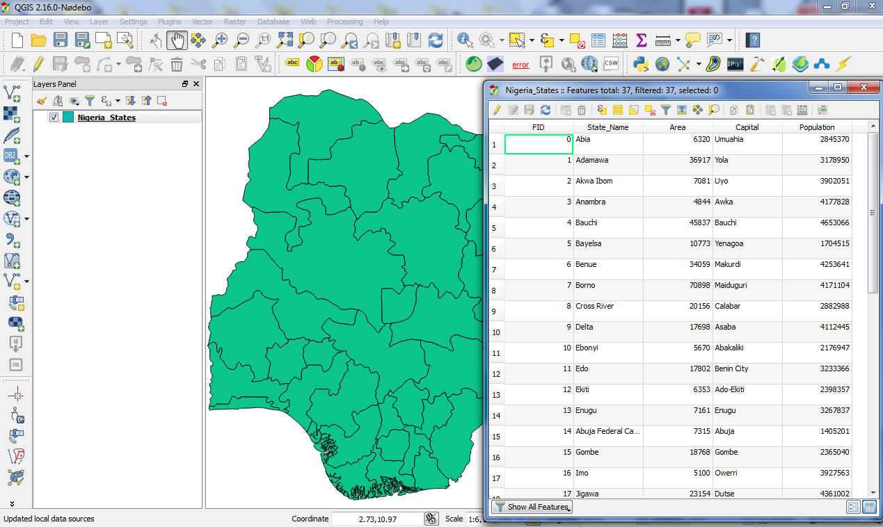 Geospatial solutions expert qgis labeling a shapefile layer the shapefile am going to use for this demonstration as seen above has five 5 columnsfields of attributes which are fid statename area gumiabroncs Gallery