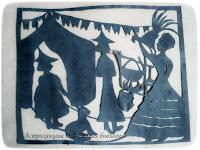 """силуэтная иллюстрация, Пратчетт, """"Ведьмы за границей"""", матушка Ветровоск, Нянюшка Ягг, госпожа Гоголь"""