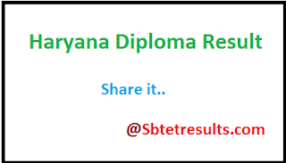 Haryana Diploma Result, HSBTE Results 2017