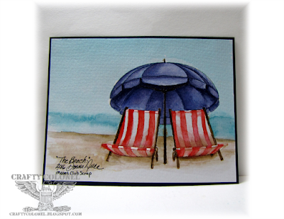 Crafty Colonel Donna Nuce using Club Scrap Boardwalk stamp and Distress Ink as watercolor