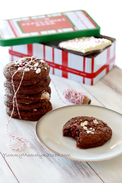 Salted Peppermint Bark Chocolate Cookies {Holiday Treat Recipe}