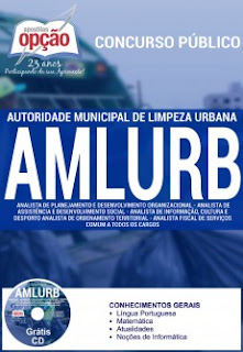 Apostila AMLURB 2016 - Assistente de Gestão e Analista - Grátis CD.