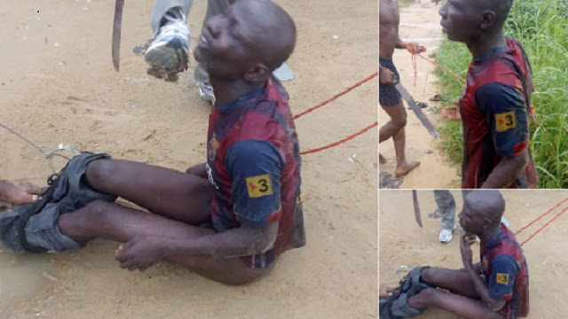 Suspected robber stripped naked, beaten to pulp in Bayelsa [PHOTO]