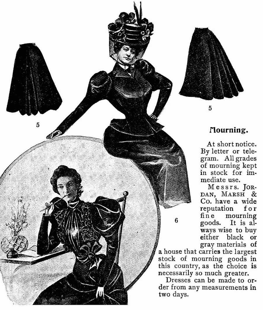 1897 mourning fashion for widows, an illustrated ad