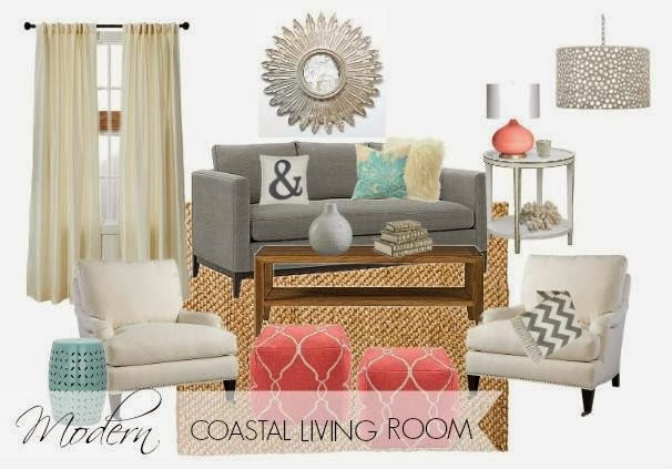 Coral, aqua and grey coastal living room