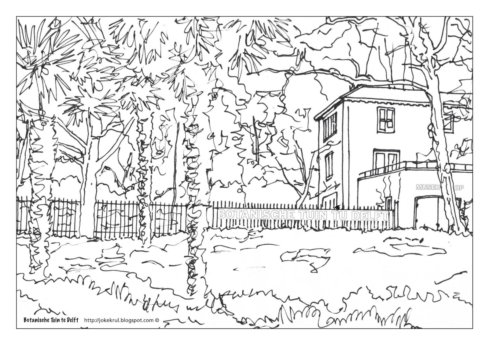 Kleurplaten Huis En Tuin.Joke Krul Schilder En Tekenlessen Kleurplaten Van Delft Coloring