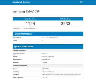 Samsung A10 with Exynos 7885 appeared at Geekbench