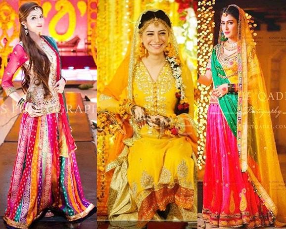Mehndi Dresses : Fashion categories beautiful mehndi dresses for brides