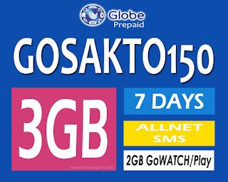 Globe GoSAKTO150 – 3GB data, Unli all-net SMS + 2GB GoWatch for 150 Pesos