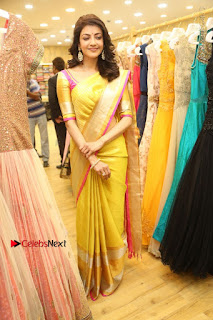 Actress Kajal Agarwal Stills in Golden Silk Saree at Trisha Sesigner Store Launch  0102.jpg