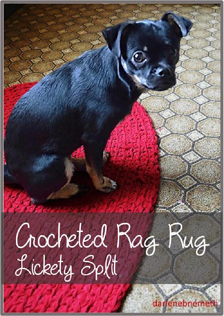 crocheted oval rag rug.