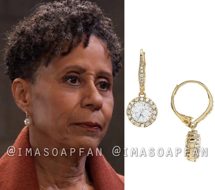 Stella Henry, Vernee Watson, Round Crystal Drop Earrings, General Hospital, GH