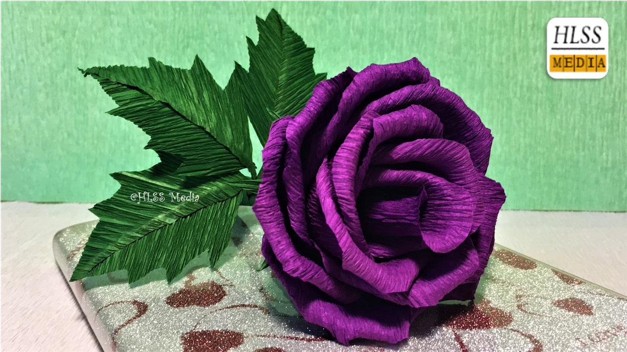 Super Easy Way To Make Purple Rose Paper Flower Diy Rose Crepe