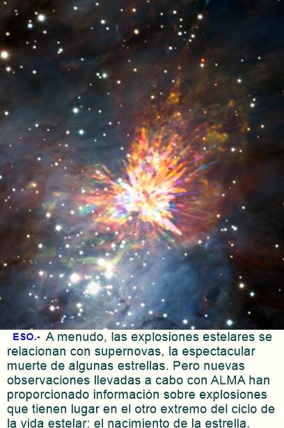 ALMA capta unos impresionantes fuegos artificiales estelares en Orión