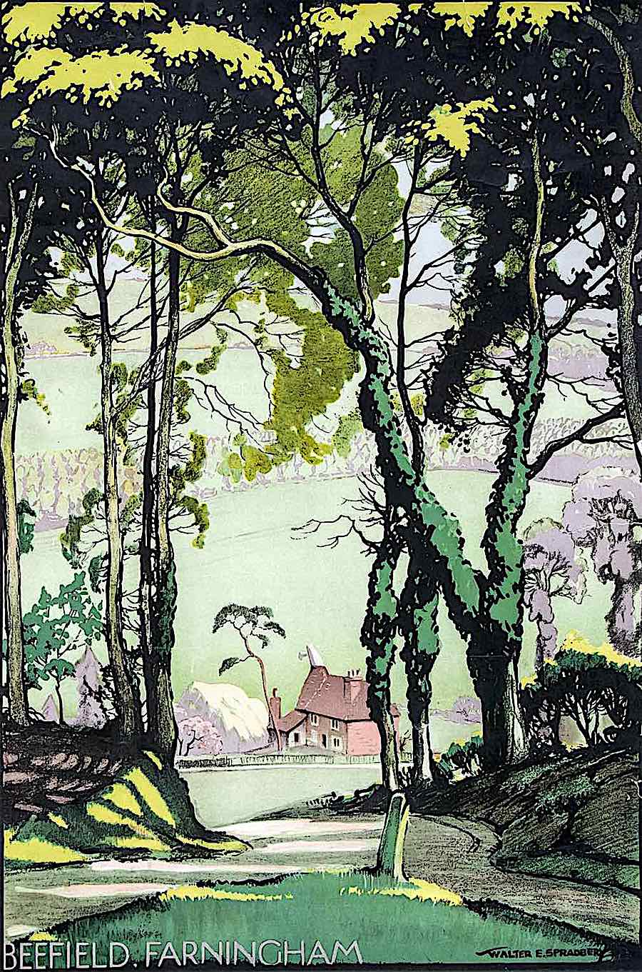 Walter Spradbery poster art for Beefield Farningham