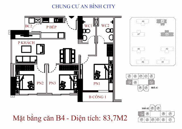 Căn B4 diện tích 83,7m2 An Bình City