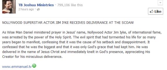 PHOTOS + VIDEO Of Jim Iyke's Deliverance By TB Joshua - Celebrities