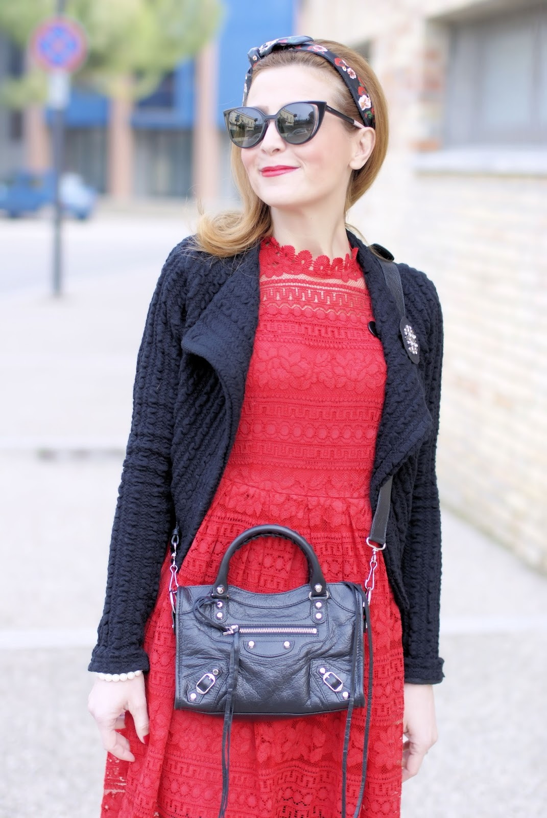 How to wear lace in Winter: Dezzal red lace dress, Balenciaga City Mini bag in black on Fashion and Cookies fashion blog, fashion blogger style