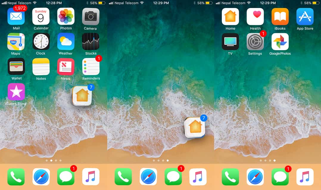Apple's new feature lets you to move your multiple apps(icons) in iOS 11 and rearrange them at once on iPhone's/iPad's Home screen