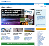 The EPA's new climate change website. (Credit: EPA) Click to Enlarge.