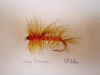 Orange Stimulator, Pat Kellner, P. H. Kellner, Fishing Art, Fly Fishing Art, Texas Freshwater Fly Fishing, TFFF, Fly Fishing Texas, Texas Fly Fishing
