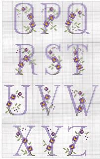 Abecedario punto de cruz  letras azules con pequeñas flores azuladas