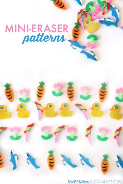 Mini-eraser patterns are a fun way to practice hands-on math with Kindergartners, and fine motor skills like in-hand manipulation.
