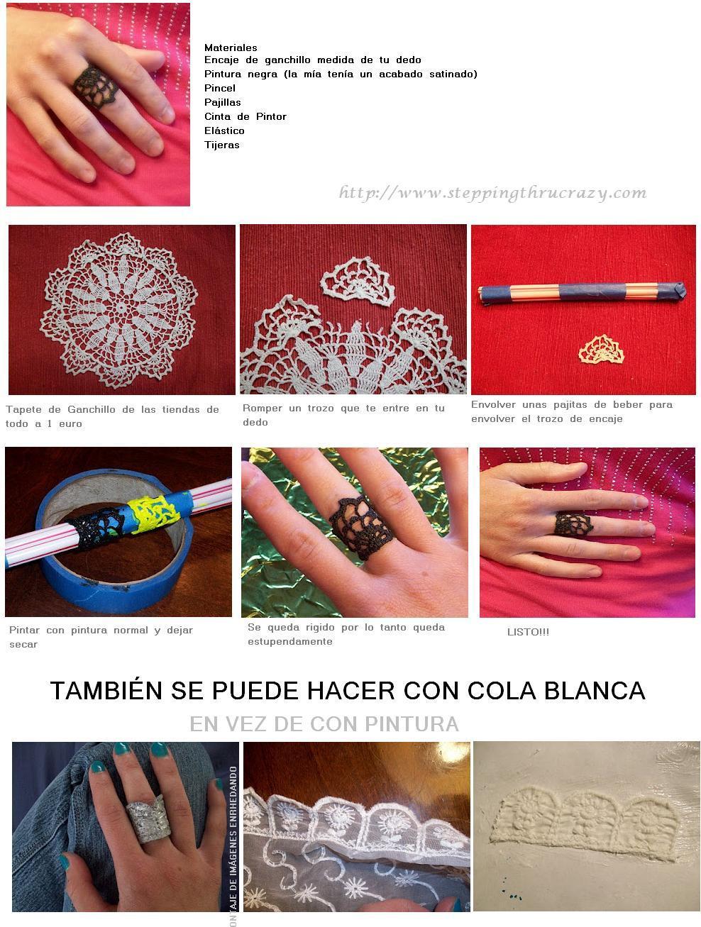 anillos, crochet, ganchillo, reciclar, bisutería
