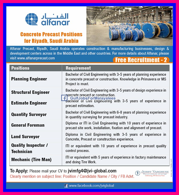 Alfanar Saudi Arabia Job Opportunities - Inspirational