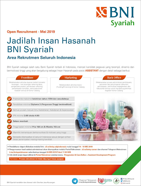 Lowongan Kerja BNI Syariah Mei 2019