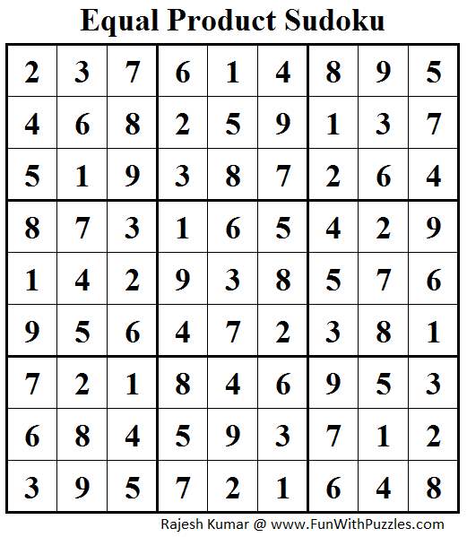 Equal Product Sudoku (Daily Sudoku League #156) Answer