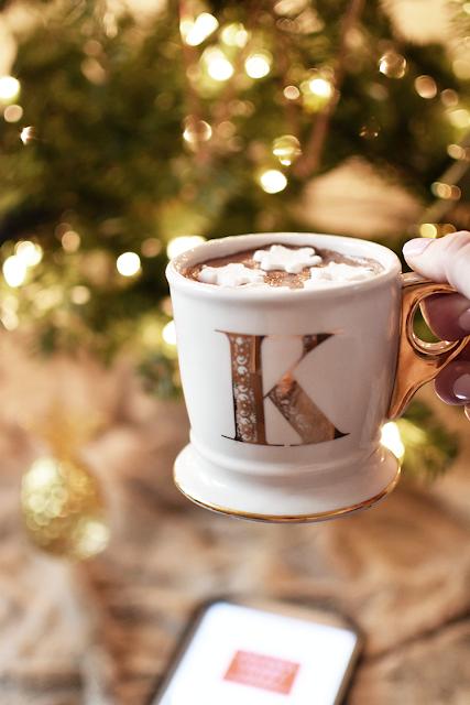 anthropologie gold monogram coffee mug christmas tree ornaments fur blanket ipad black friday deals hot chocolate marshmallows