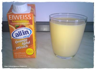 Allin one Eiweiß Drink Orange Apfel Pfirsich