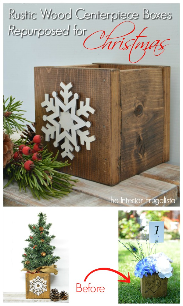 Rustic Wood Boxes Repurposed for Christmas