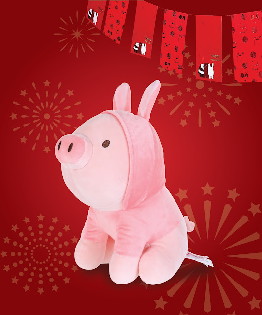 To have and to hold. Loveable and adorable pig plush toy in bunny costume only at Miniso.