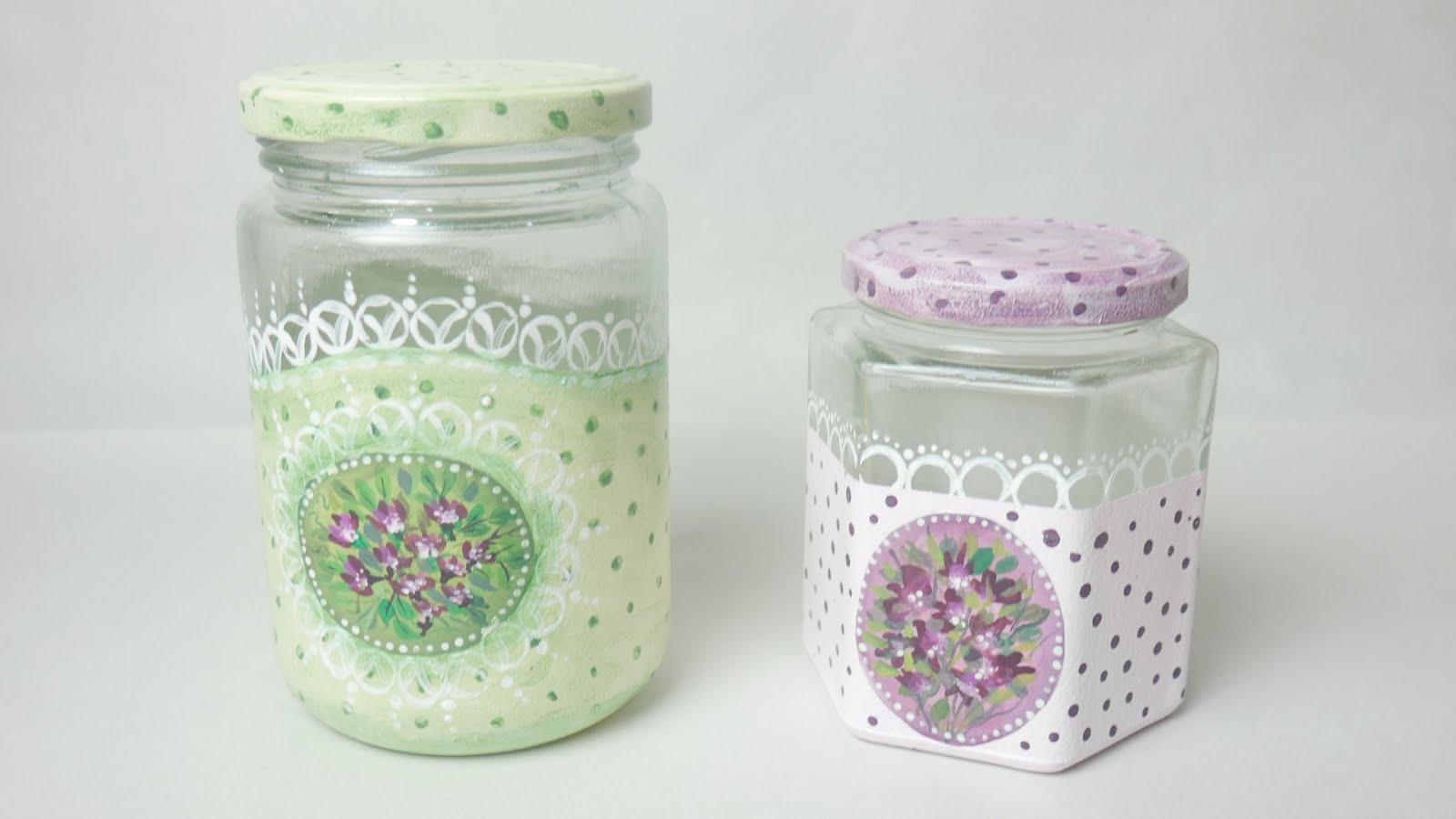 Hoy decid trabajar de nuevo con frascos porque es algo for Envases de vidrio decorados