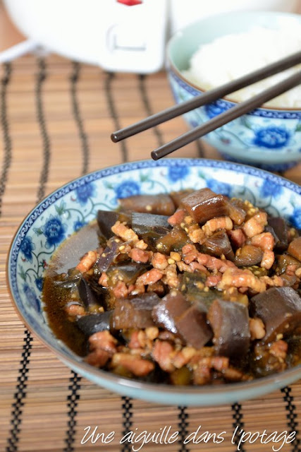 Aubergines sautées au porc, à la chinoise/ Eliane cheung