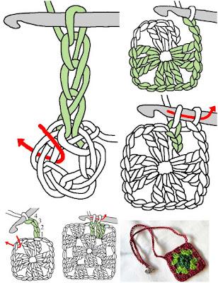 collares con grannys, bisutería cuadrados de la abuela, patrones para crochet