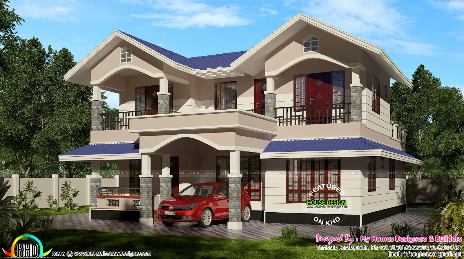 2100 sq ft typical kerala sloping roof kerala home for Sloped roof house plans in india
