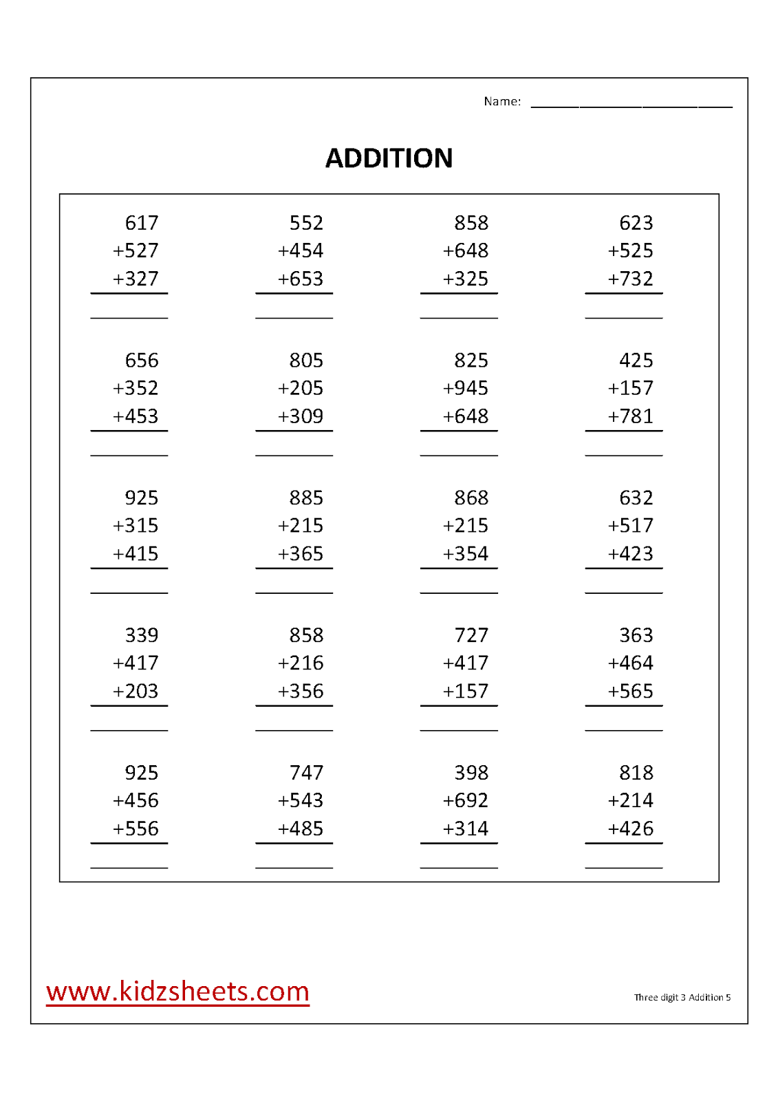 hight resolution of Kidz Worksheets: Third Grade Three digit 3 Number Addition Worksheet5