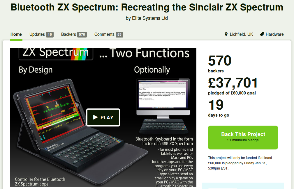 KickStarter, ZX Spectrum, Retrogaming