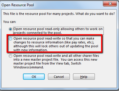 Microsoft Project Resource Pool