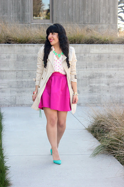 Pink Polka Dot Portofino Top and High Waist Skirt Spring Work Outfit