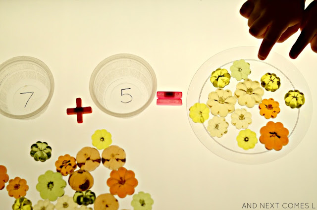 Pumpkin addition on the light table - a simple math activity for kids from And Next Comes L