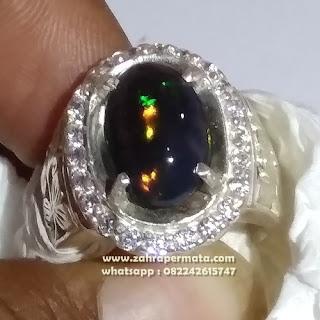 Cincin Batu Permata Black Opal Kalimaya ZP1095