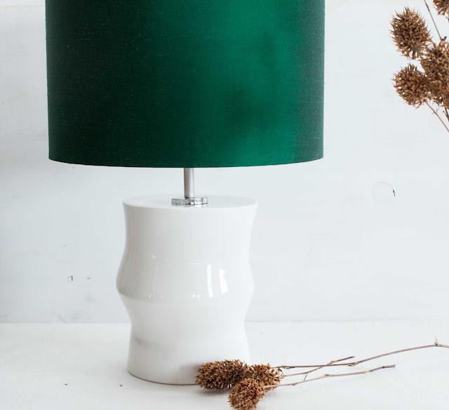 Candeeiro  cerâmica em verde esmeralda