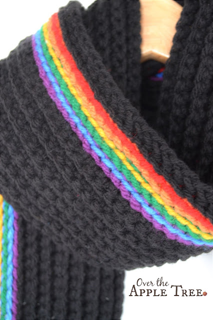 The Dark Rainbow Scarf, FREE PATTERN by Over The Apple Tree