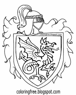 Legendary British leader Arthur Pendragon coat of arms printable medieval history coloring book page